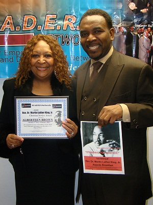 Honoree Albertten Brown and her son The Rev. Ira Acree of Greater St. John Bible Church of Austin