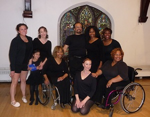 Dance>Detour Company members pictured in photo: (back row) Ally Trimarco, Hana Freidheim, Ladonna Freidheim, Anel Gonzalez, Delia Tyler; and Lori Vinson; (front row) Alana Wallace(in wheelchair), Melissa Sallee (kneeling on floor); and Mia Coulter (in wheelchair).