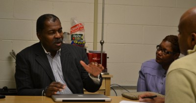 Glenn Ford (left) and Gary Mayor Karen Freeman-Wilson (right) discuss economic development on Chicago's West Side.