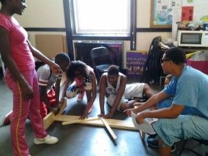Teens at Austin Town Hall Park worked on creating their push kart and theme for the summer. (Photo provided by the Chicago Park District)