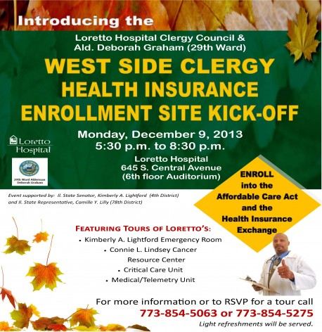 Loretto Hospital Clergy Council and Ald. Deborah Graham ACA Site Kickoff Invitation
