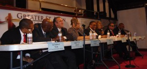 Candidates (from left) La Coulton J. Walls, Oddis Johnson, Lawrence Andolino, Ald. Deborah Graham, Chris Taliaferro  and Zerlina Smith participated in Sunday's forum. Bob Galhotra and Stephen Robinson also took part. (Photo/Terry Dean)