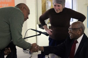 Chicago civil rights activist Timuel Black (right) and Deb Donovan (center) greet audience members after Black spoke at Third Unitarian Church about his relationship with Dr. Martin Luther King Jr. /Photo Credit: Cara Ball