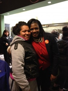 Candidate Tara Stamps and a supporter wait Tuesday night for election results. (Photo/Reema Amin)
