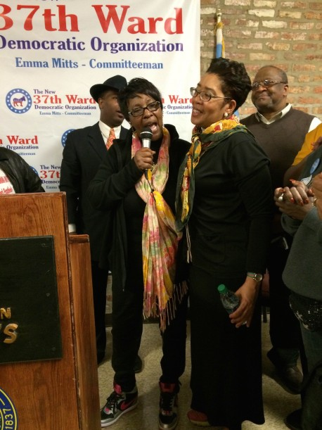 Ald. Emma Mitts celebrates her victory Tuesday night with Maretta Brown-Miller, who ran against Mitts in the Feb. 24th election. (Photo/Reema Amin)