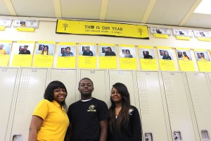 The top three graduating seniors at Michele Clark Magnet High School were awarded more than $1 million in scholarships. From left to right: Ashley Moncrief, Ralph Boyd and Diamond Dortch (Photo/Cara Ball)