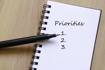 Priorities Concept White Notepad And Ink Pen On The Wooden Desk