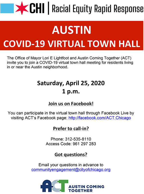 Chicago Mayor Lori Lightfoot and Austin Coming Together invite Austin residents to participate in a COVID-19 virtual town hall at 1 p.m. April 25.
